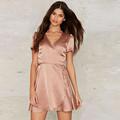 Women summer dress short sleeve V neck ladies short mini satin dress fashion vestidos femininos