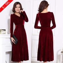 Plus Size XXXL 4XL 5XL Women Winter Dress V-Neck Long Maxi Velvet Dresses Elegant Ladies Formal Party Red Dresses black,red,blue(China (Mainland))