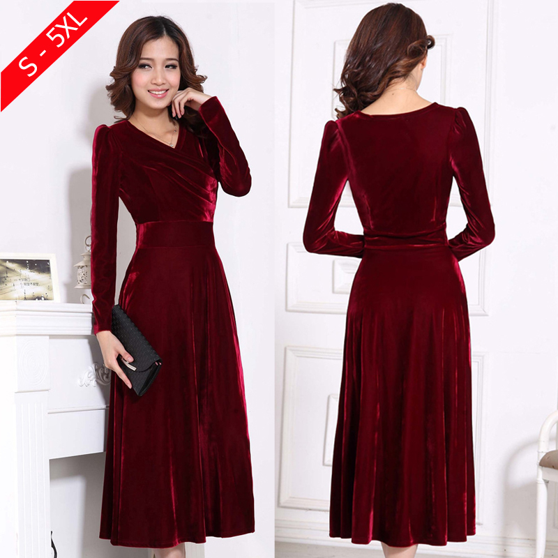 red velvet v neck dress