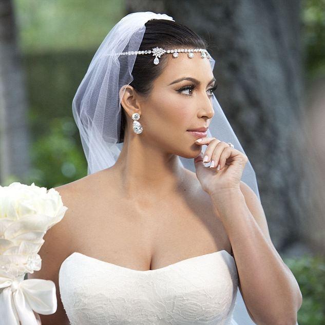 Bridal Hair Accessories Like Kim Kardashian Chain Crystal Wedding