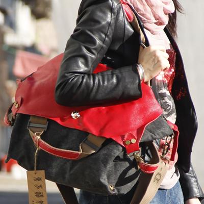 Hot selling fashion style canvas women's handbag anti-theft genuine leather bag fashion classic cross-body one shoulder bag(China (Mainland))