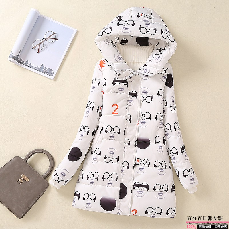 NEW Women Fashion Coat Lady Hooded Jacket With Star Print Regular Length Thick Warm Winter Outfit Female Coat