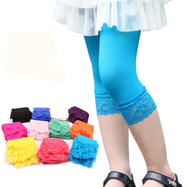 Женские леггинсы стрейч, летние, детские кружевные Леггинсы Капри, зауженные брюки, яркие цвета, бархатные Леггинсы девчачьи брюки, 20 см свободный размер