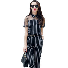 Women summer short sleeve stand collar long pants jumpsuits Black striped skinny leg two pieces jumpsuit Mesh long pant rompers