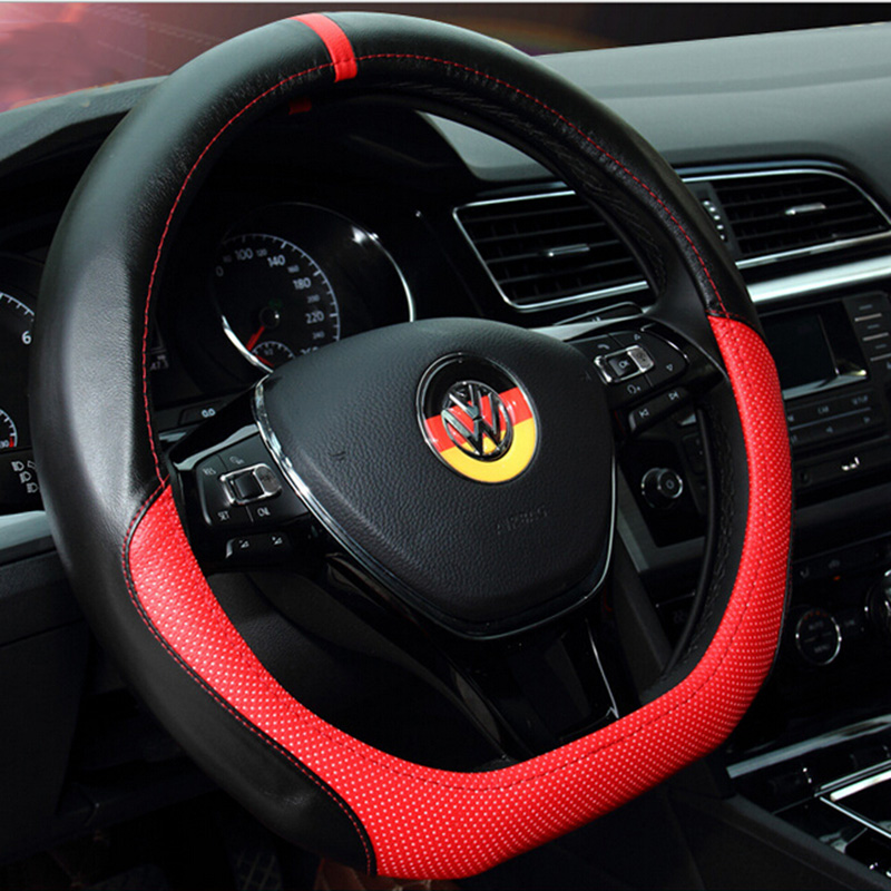 2016 High Quality Women New General Breathe Genuine leather Freely Steering 38cm Wheel Cover Car Steering For Volkswagen<br><br>Aliexpress