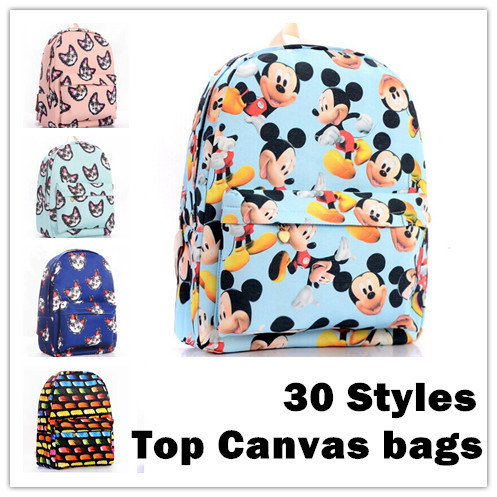 "30 style women printing backpack school shoulder bags for teenagers girls canvas 14"" laptop preppy style bookbag brand backpacks(China (Mainland))"