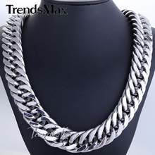 Buy Trendsmax 18/22mm Mens Chain Heavy 316L Stainless Steel Silver, Color Cut Double Curb Link Rombo Necklace Wholesale HN54 HN55 for $19.49 in AliExpress store