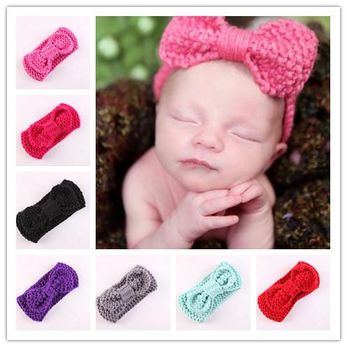 Cute Baby Girls Crochet Knitted Hair Bow Headband Hairband Hair Accessories Winter Warm(China (Mainland))