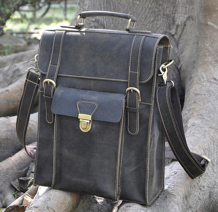 Vintage Cowhide Men Backpacks Genuine leather Large Capacity Laptop bag Crazy horse Boy Shoulder Strap Bags Tote Travel - Guangzhou Leather Bag Industry Co.,Ltd store