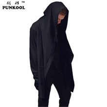 PUNKOOL European American Style Mens Avant-garde Belt Trenchs Outerwear Men Full Sleeve Loose Streetwear Hip Hop Cloak Dust Coat(China (Mainland))