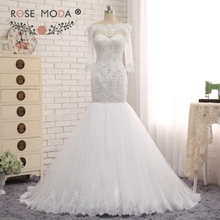 Rose Moda Heavily Beaded Mermaid Wedding Dress Scalloped Off Shoulder Half Sleeves White Bridal Dress Custom Made(China (Mainland))