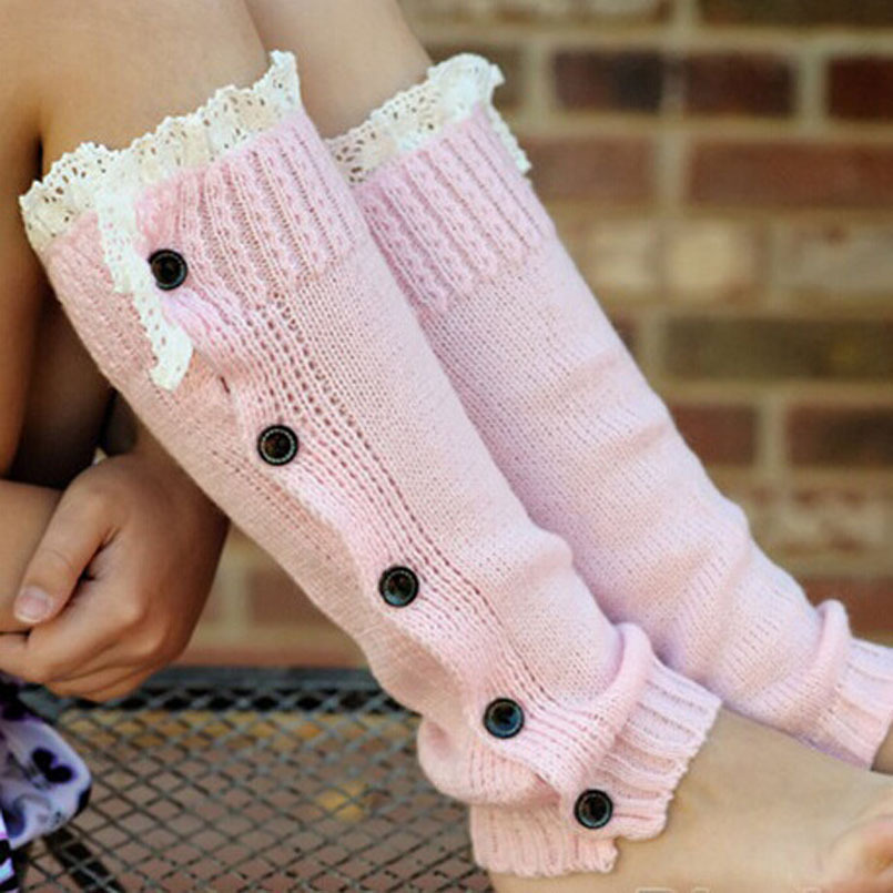 Knitting Pattern For Leg Warmers With Buttons : Aliexpress.com : Buy Baby Kids Girls Crochet Knitted Button Toppers Lace...