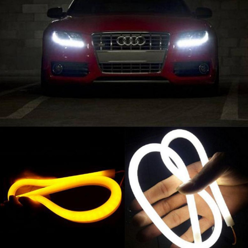 A-Pair-2x60cm-White-And-Yellow-Amber-Tube-Switchback-Headlight-Car-LED-Strip-For-Audi-Style
