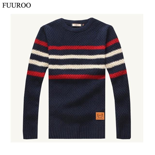 Мужчины пуловер свитер осень зима снег теплый утолщаются полосы трикотажной одежды ...