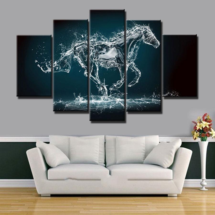 Nieuwe ontwerp idee n moderne home decor kunst schilderen paard beeld 5 stuks canvas art prints - Schilderij kamer ontwerp ...