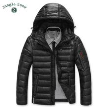 JUNGLE ZONE Warm men's down jacket leisure coat snow coat coat hood winter white duck down blue down jacket 2016 men's brand(China (Mainland))