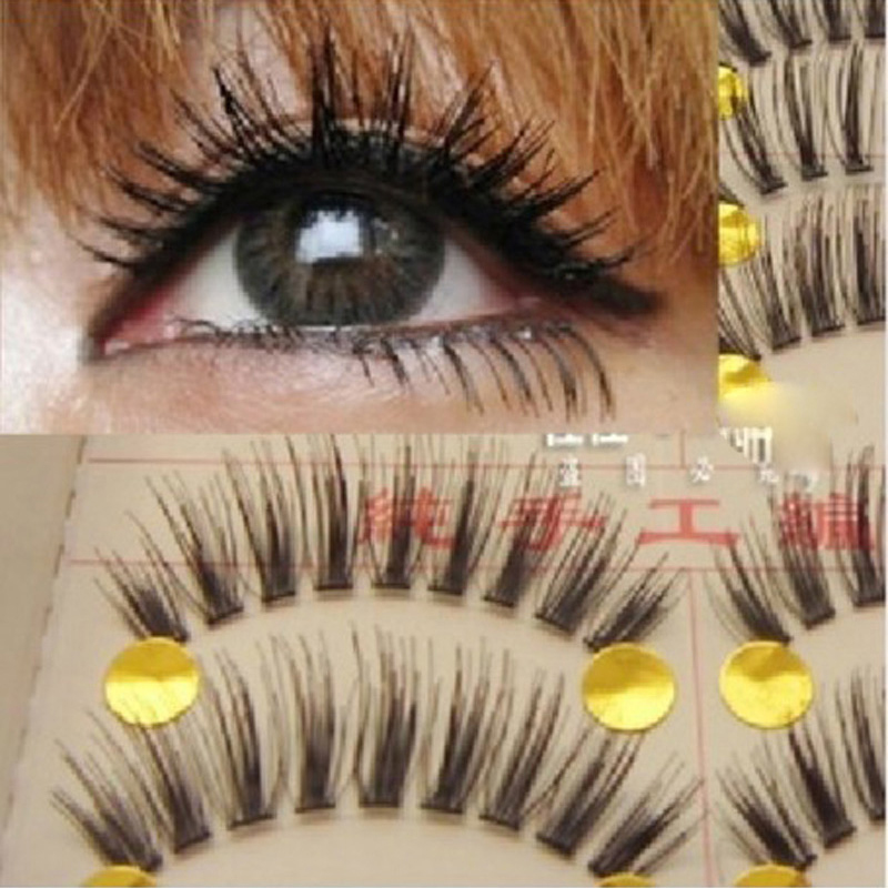 New 10 Pairs Handmade Fake False Eyelash Lashes Natural Transparent Stem Black Individual Strip Eyelashes ExtensionTools(China (Mainland))
