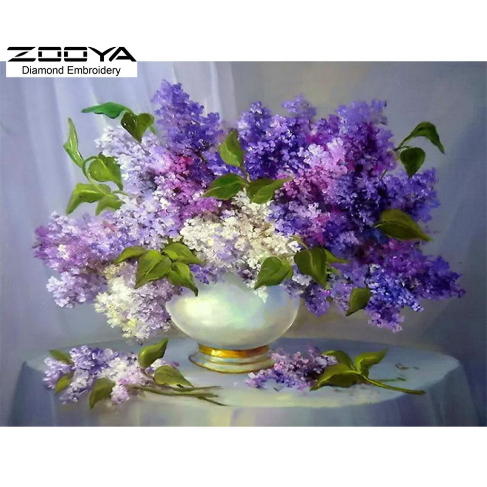 DIY Diamond Painting Needlework Square Full Diamond Embroidery Purple Lilac Flower Vase Painting Pattern Home Decoration BJ121(China (Mainland))