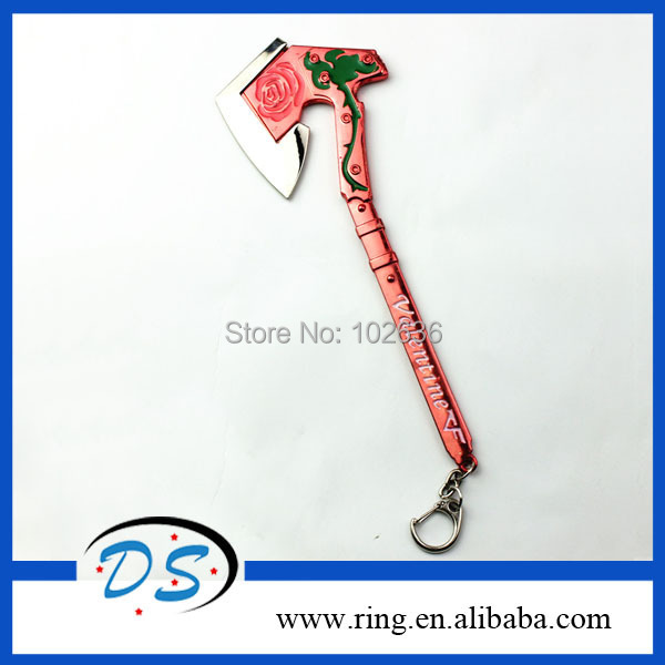 Fashion Cross Fire Smart Axe Keychain Metal Valentines Rose Flower Print Keys Ring Coolest CF Gift