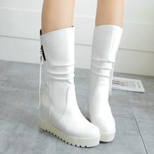 Mujeres del invierno patean plataforma de piel de tacones de cuña botas Warm mitad de la pantorrilla botas zapatos de la nieve tacones altos blanco rojo grande Size12 13 43 44 46(China (Mainland))