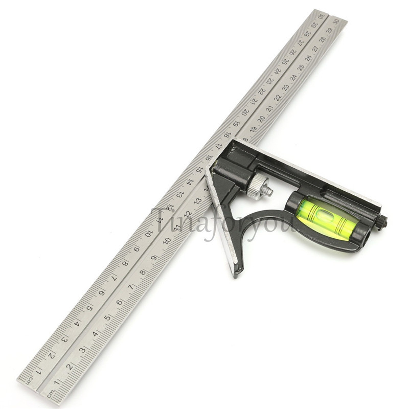 "Precise Stainless Steel Measuring Tools Aluminium Combination Square Diy Workshop Hardware Angle Spirit Level 12"" (300mm) New(China (Mainland))"