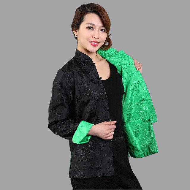 Черный зеленый традиционный китайский реверсивные куртка Mujer Chaqueta женщин шелковый ...