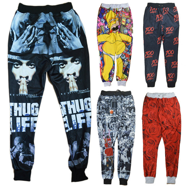 New Fashion men/women jogging pants emoji clothes 3d print weed/100/Red Rose joggers pants Casual hiphop sweatpants trousers(China (Mainland))