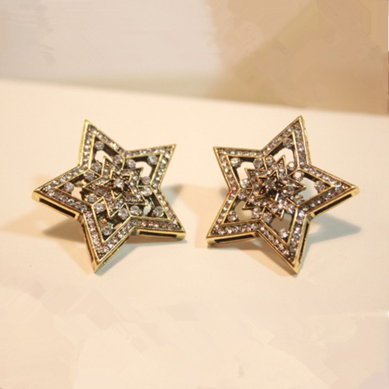 Flash Czech diamond earrings double hollow five-pointed star Korean star earrings wholesale women(China (Mainland))