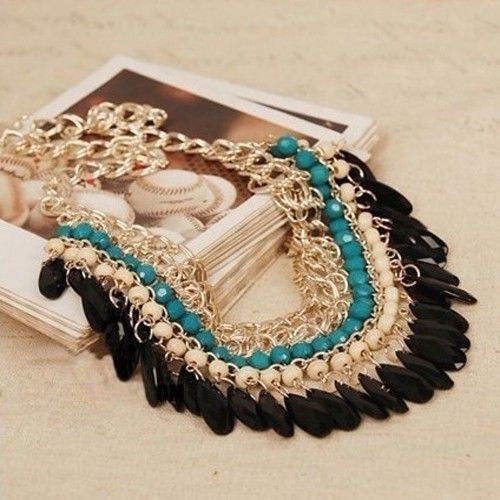 Wholesale 2014 Bohemian Tassels Drop Vintage Gold Choker Chain Neon Bib Statement Necklaces & Pendants Fashion Jewelry For Woman(China (Mainland))