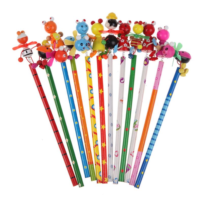 2016 Hot Sale Cute 22.5cm Animal Design Wooden Windmill Pencil Children Creative Toy FCI#(China (Mainland))