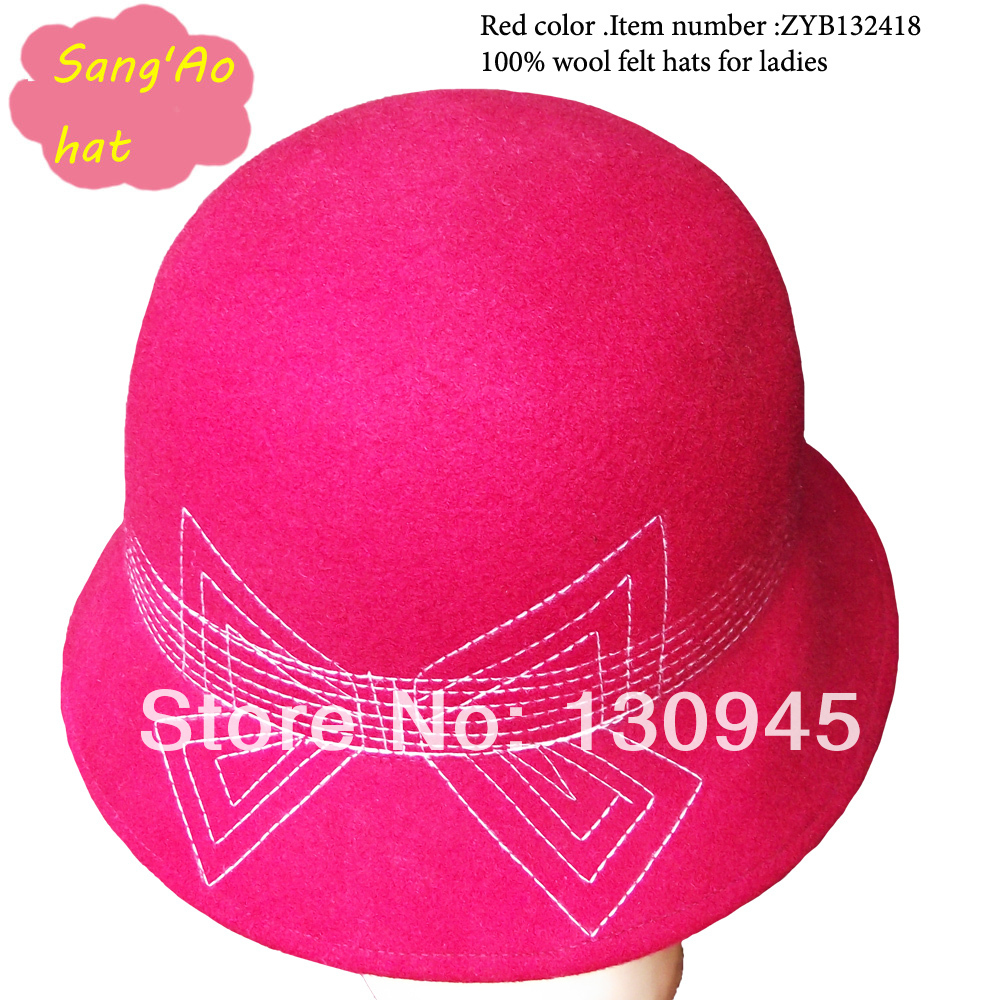 Fashion perfect quality Red bucket hats for ladies and girls and women100% wool felt wear in winter ,fall ,spring fedora style(China (Mainland))