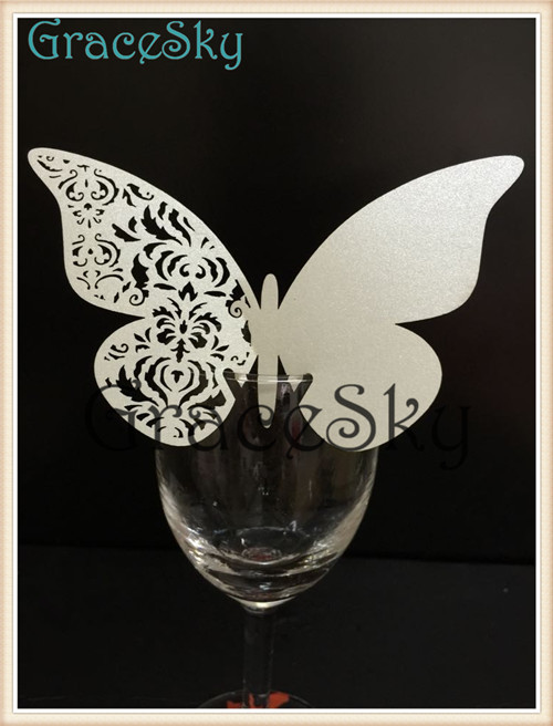 60PCS Hot Sale Laser Cut Wedding Decoration Place Name Cards, Unique Place Card Paper Butterfly Party Decoration for Wine Glass(China (Mainland))