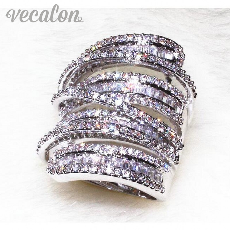 Vecalon Antique Big ring Women Men Jewelry 20ct AAAAA Zircon cz 925 Sterling Silver Engagement wedding Band ring for women(China (Mainland))