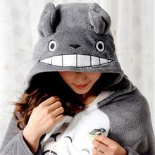 Free Shipping Totoro Lovely Plush Soft Cloak Totoro Cape Cat Cartoon Cloak Coral Fleece Air Blankets Birthday Valentine Gifts(China (Mainland))