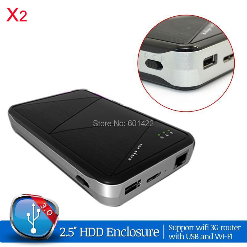 2psc Wireless Wifi USB 3.0 2.5 HDD Enclosure External SATA Hard Drive Enclosure Support 3G Wifi Router With USB Power Bank<br>