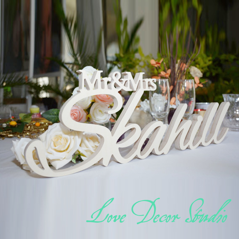 Custom white letter mr and mrs last name wedding wedding for Personalised mr and mrs letters