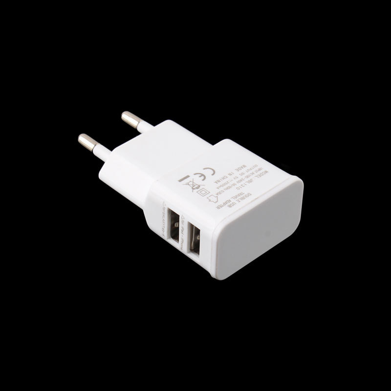 White Dual USB 2 Port Home Travel Wall AC Power Charger Adapter For Samsung HTC #54569(China (Mainland))