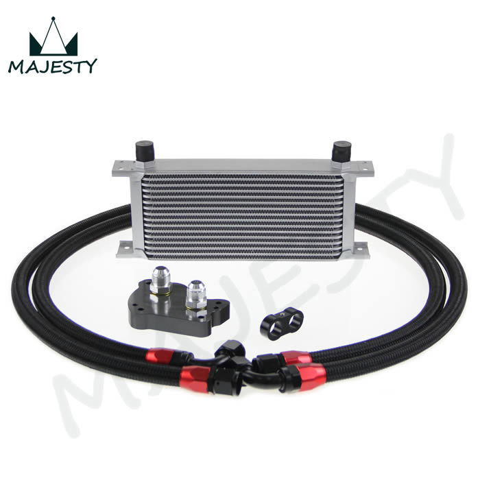 Фотография 16 ROW AN-10AN BRITISH TYPE FIT MINI COOPER R53 UNIVERSAL ENGINE TRANSMISSION OIL COOLER SILVER+FITTER KITS BLACK