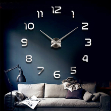 Home decoration!big number mirror wall clock Modern design,large designer wall clock.3d watch wall,unique gifts W46(China (Mainland))