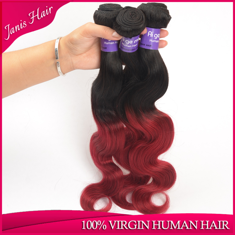 Burmese Hair 7A High Quality Ombre Hair Extensions 4 bundles Lot Two 2 Tone Red Color T1B/Burgundy Burmese Virgin Hair Body Wave(China (Mainland))