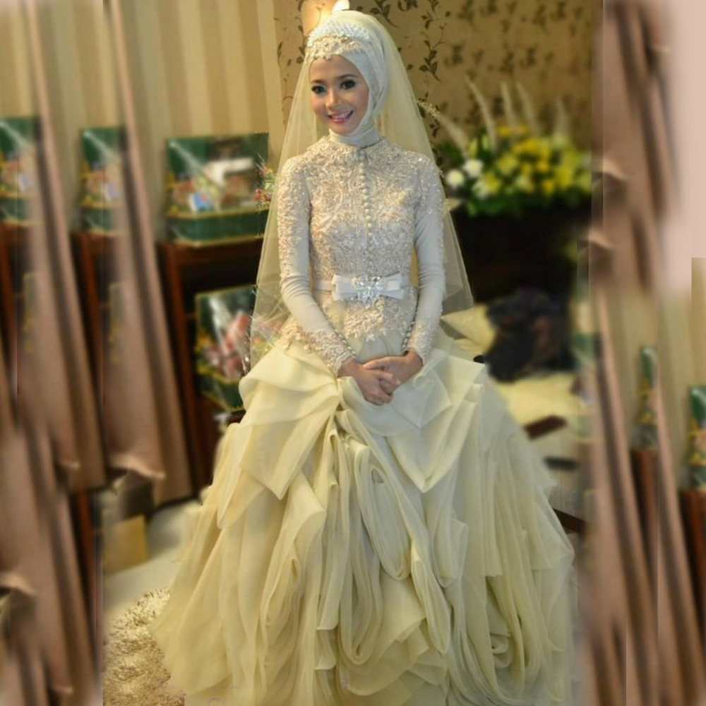 Buy 2016 summer style luxury puffy muslim for Muslim wedding dress photo