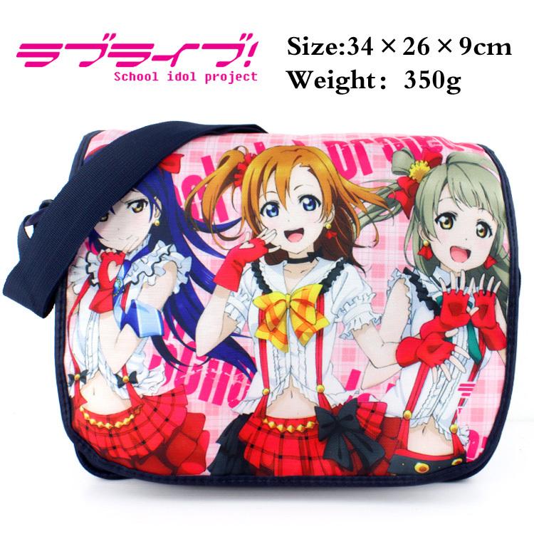 LoveLive polyester shoulder bag/colorful printed w/ Kousaka Honoka/ Kotori/ Umi Type B Messenger Bag(China (Mainland))