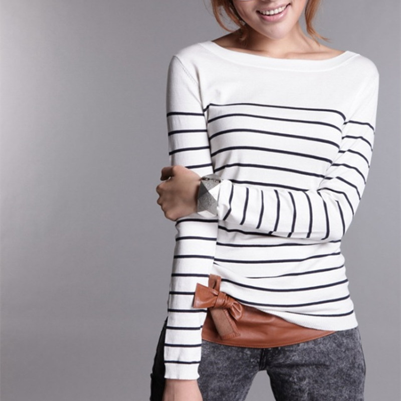 Women's Knitted Cashmere Sweater Plus Size Stripe Wlack White Woman Winter Clothes wool Pullover Base Shirt(China (Mainland))
