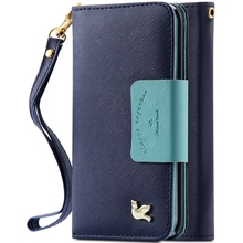 For Samsung S6 Edge Plus S3 S5 S6 Note5 Capa Bird Leather Flip Makeup Mirror Case Wallet Stand Card Slot Phone S5 S6 Note5 Cover(China (Mainland))
