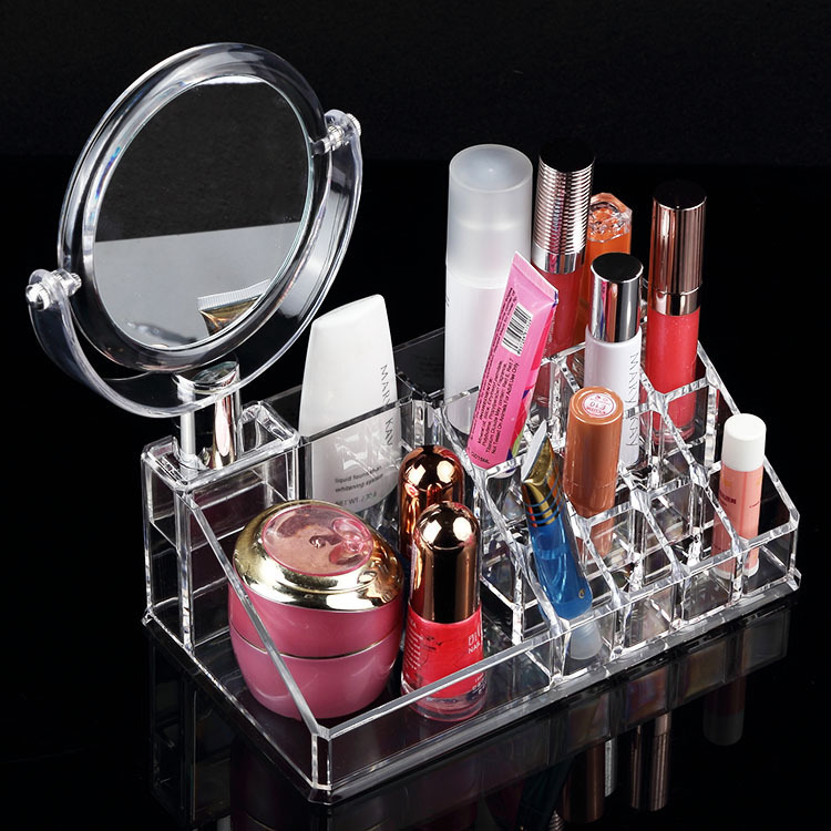Home jewellery display acrylic makeup stands women cosmetic organizer drawer cases mirror jewelry cabinet storage tray(China (Mainland))