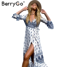 Buy BerryGo Boho floral print chiffon split long dress Women sash wrap maxi sexy dress Eleagnt beach summer v neck dress vestidos for $16.99 in AliExpress store