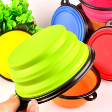 New Collapsible foldable silicone dow bowl candy color outdoor travel portable puppy doogie food container feeder dish on sale(China (Mainland))