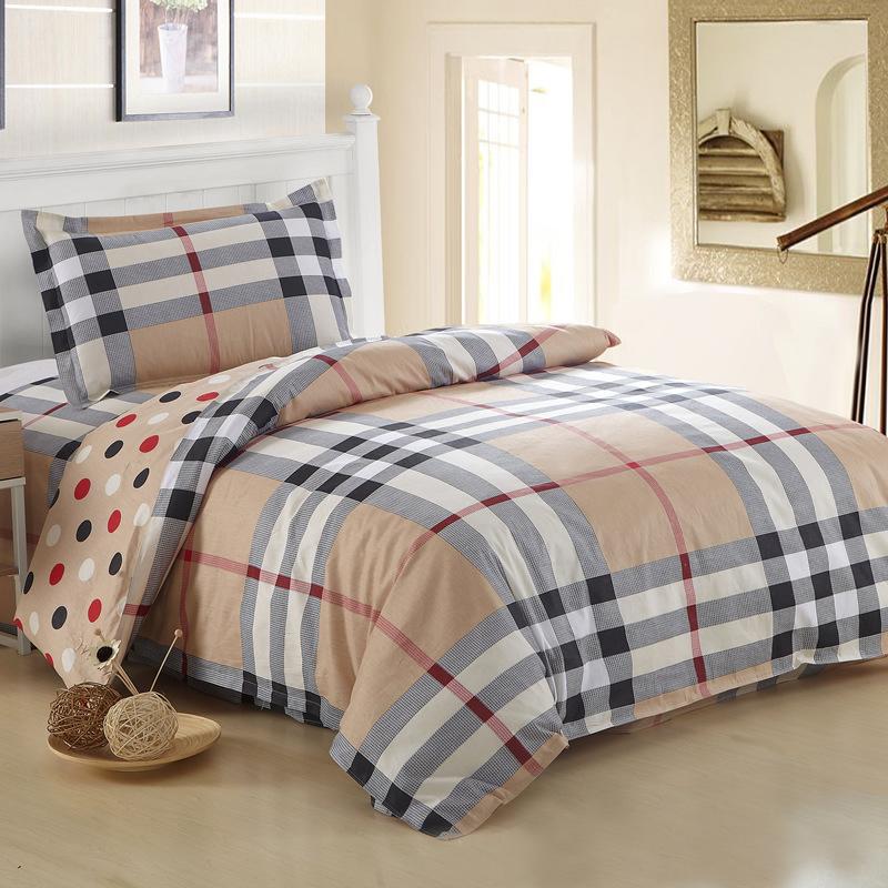 Wholesale 100% Cotton Bedding Set Plaid Stripes Modern Bed Linen Duvet Cover Set 3pcs Fit 0.9-1.2m Width Bed Sheet Free Shipping(China (Mainland))