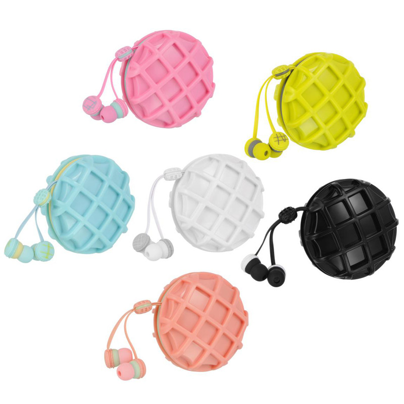 Cute In-Ear stereo macaron earphone for Iphone samsung xiaomi LG waffle cable winder earbuds mobile phone headset(China (Mainland))