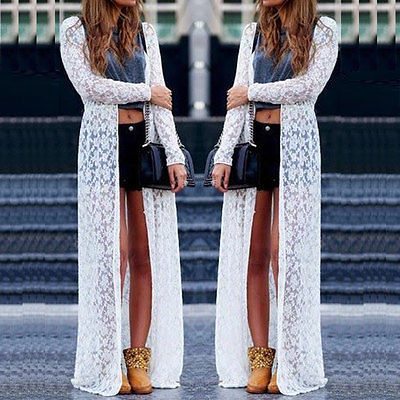 Womens Summer Casual Chiffon Lace Long Sleeve Boho Maxi Cardigan Top Dress SmockОдежда и ак�е��уары<br><br><br>Aliexpress
